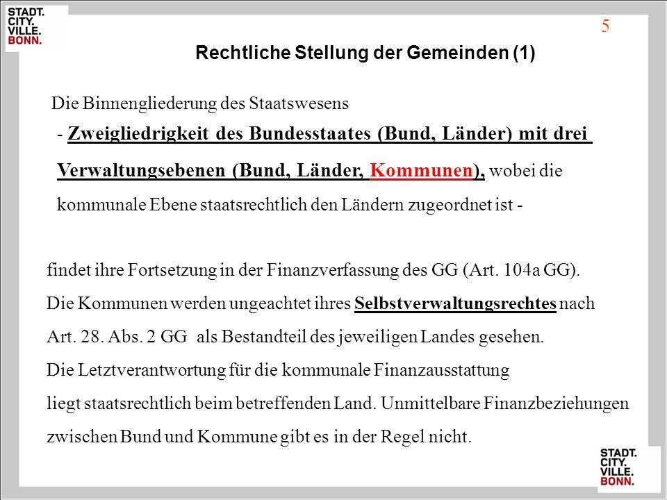5 Rechtliche Stellung der Gemeinden (1) Die Binnengliederung des Staatswesens findet ihre Fortsetzung in der Finanzverfassung des GG (Art. 104a GG). D