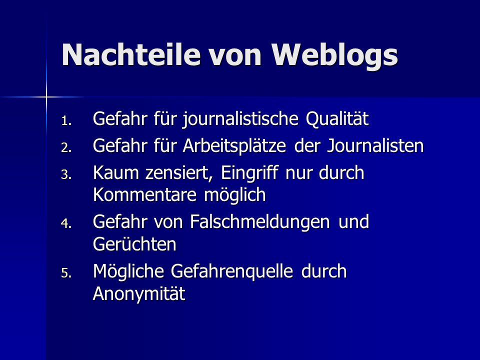 Nachteile von Weblogs 1.Gefahr für journalistische Qualität 2.