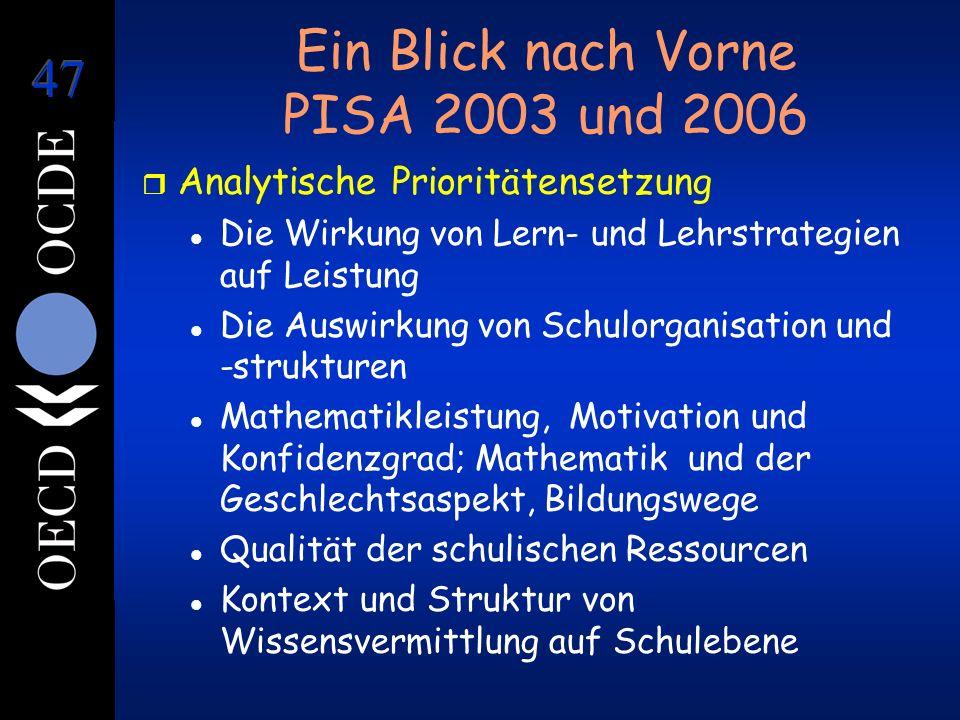 Ein Blick nach Vorne PISA 2003 und 2006 r Analytische Prioritätensetzung l Die Wirkung von Lern- und Lehrstrategien auf Leistung l Die Auswirkung von