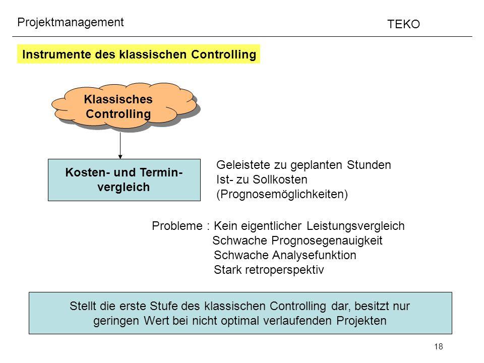 18 Projektmanagement TEKO Instrumente des klassischen Controlling Klassisches Controlling Klassisches Controlling Kosten- und Termin- vergleich Geleis