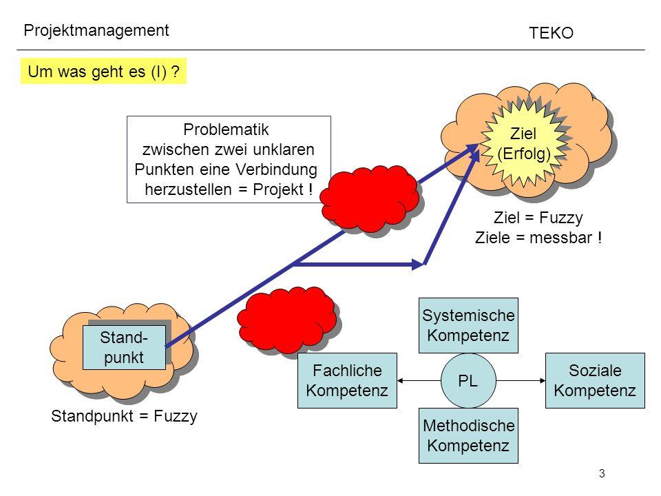 3 Projektmanagement TEKO Um was geht es (I) ? Ziel (Erfolg) Ziel (Erfolg) Stand- punkt Stand- punkt Standpunkt = Fuzzy Ziel = Fuzzy Ziele = messbar !