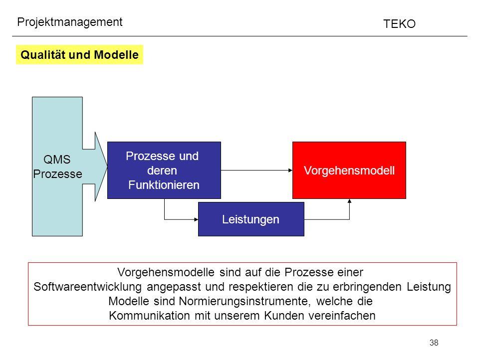 38 Projektmanagement TEKO Qualität und Modelle QMS Prozesse Prozesse und deren Funktionieren Leistungen Vorgehensmodell Vorgehensmodelle sind auf die
