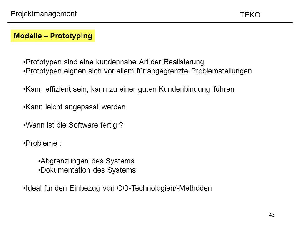 43 Projektmanagement TEKO Prototypen sind eine kundennahe Art der Realisierung Prototypen eignen sich vor allem für abgegrenzte Problemstellungen Kann