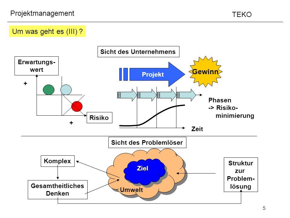 5 Projektmanagement TEKO Um was geht es (III) ? Projekt Phasen -> Risiko- minimierung Zeit Erwartungs- wert Risiko + + Sicht des Unternehmens ZielZiel
