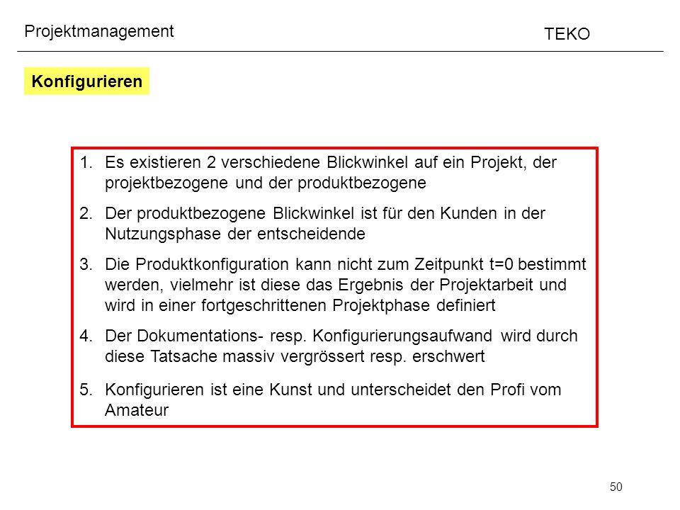 50 Projektmanagement TEKO Konfigurieren 1.Es existieren 2 verschiedene Blickwinkel auf ein Projekt, der projektbezogene und der produktbezogene 2.Der