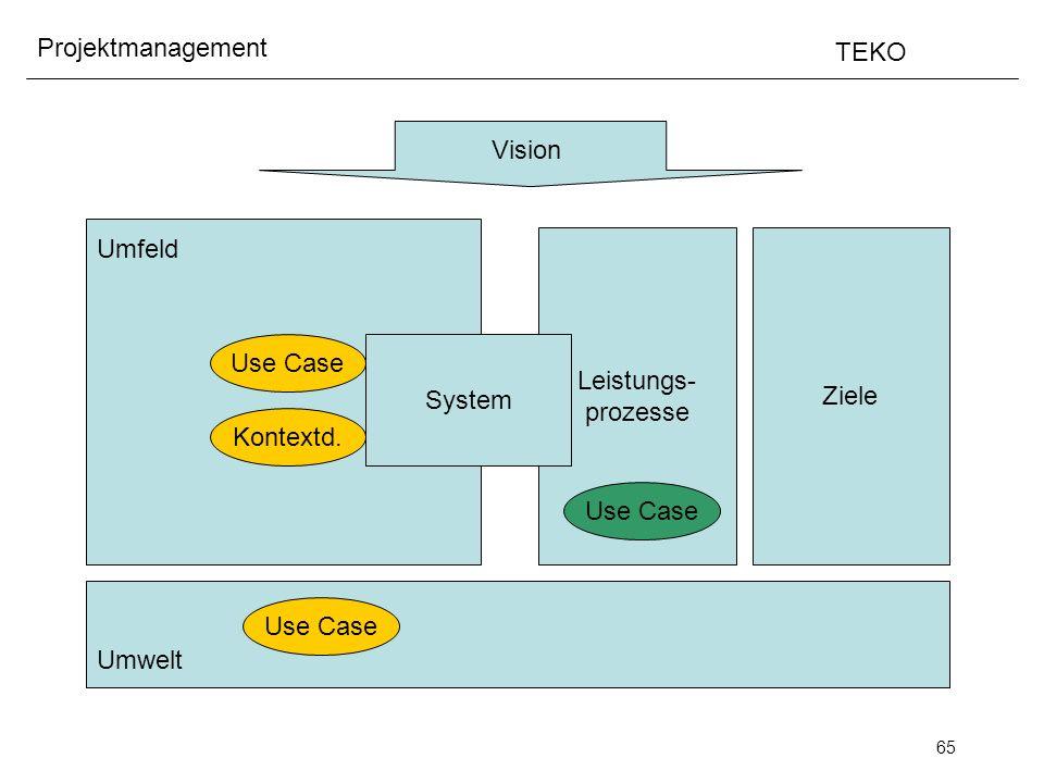 65 Projektmanagement TEKO Vision Umfeld Umwelt Ziele Leistungs- prozesse System Use Case Kontextd. Use Case