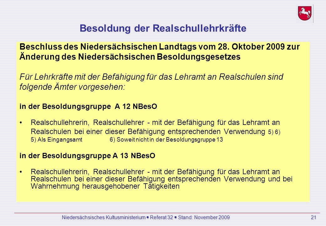 Besoldung der Realschullehrkräfte Beschluss des Niedersächsischen Landtags vom 28.