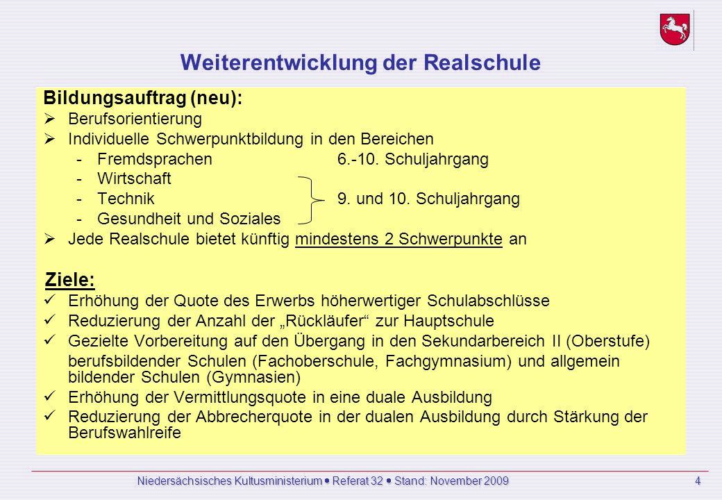 Niedersächsisches Kultusministerium Referat 32 Stand: November 2009 4 Weiterentwicklung der Realschule Bildungsauftrag (neu): Berufsorientierung Individuelle Schwerpunktbildung in den Bereichen -Fremdsprachen 6.-10.