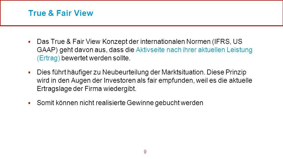 9 True & Fair View Das True & Fair View Konzept der internationalen Normen (IFRS, US GAAP) geht davon aus, dass die Aktivseite nach ihrer aktuellen Le