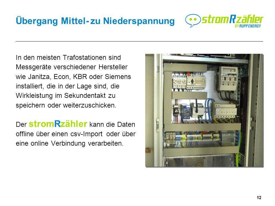 12 Übergang Mittel- zu Niederspannung In den meisten Trafostationen sind Messgeräte verschiedener Hersteller wie Janitza, Econ, KBR oder Siemens installiert, die in der Lage sind, die Wirkleistung im Sekundentakt zu speichern oder weiterzuschicken.