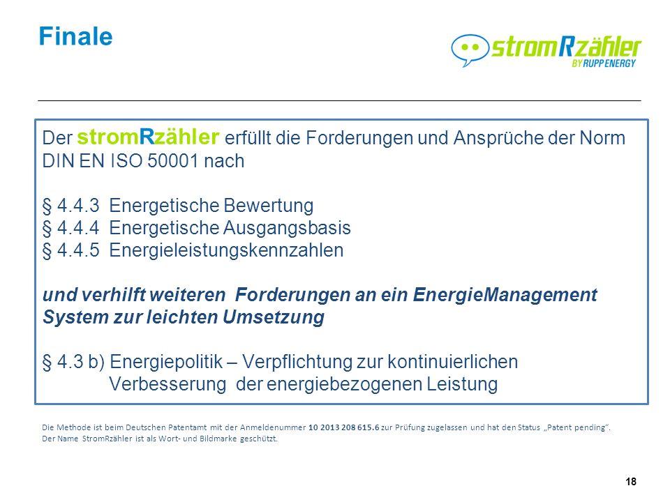 18 Finale Der stromRzähler erfüllt die Forderungen und Ansprüche der Norm DIN EN ISO 50001 nach § 4.4.3 Energetische Bewertung § 4.4.4 Energetische Ausgangsbasis § 4.4.5Energieleistungskennzahlen und verhilft weiteren Forderungen an ein EnergieManagement System zur leichten Umsetzung § 4.3 b) Energiepolitik – Verpflichtung zur kontinuierlichen Verbesserung der energiebezogenen Leistung Die Methode ist beim Deutschen Patentamt mit der Anmeldenummer 10 2013 208 615.6 zur Prüfung zugelassen und hat den Status Patent pending.