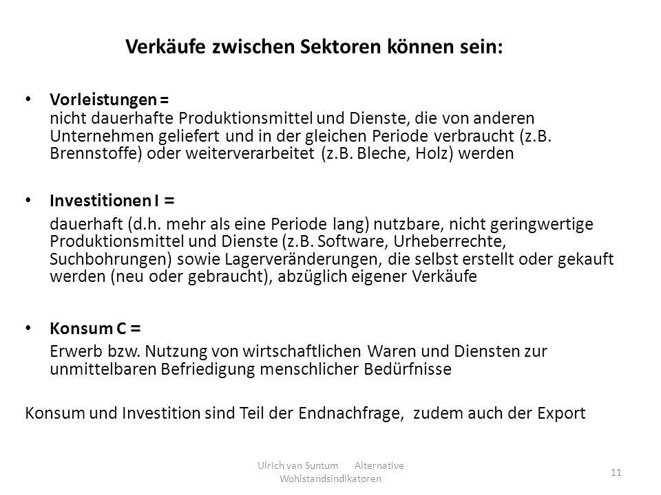 11 Verkäufe zwischen Sektoren können sein: Vorleistungen = nicht dauerhafte Produktionsmittel und Dienste, die von anderen Unternehmen geliefert und i