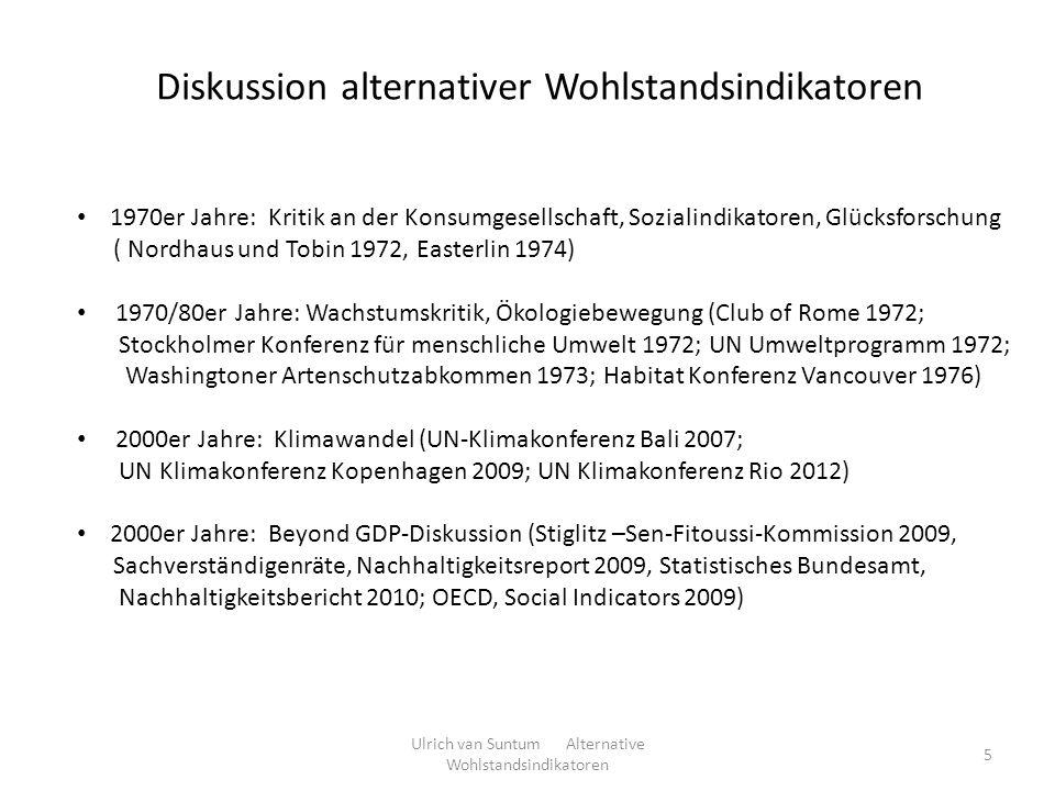 Diskussion alternativer Wohlstandsindikatoren 1970er Jahre: Kritik an der Konsumgesellschaft, Sozialindikatoren, Glücksforschung ( Nordhaus und Tobin