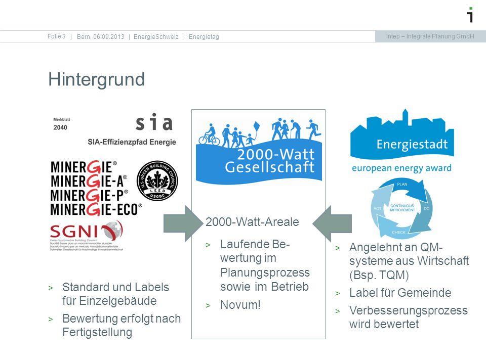 Intep – Integrale Planung GmbH Hintergrund Folie 3   Bern, 06.09.2013   EnergieSchweiz   Energietag Standard und Labels für Einzelgebäude Bewertung er