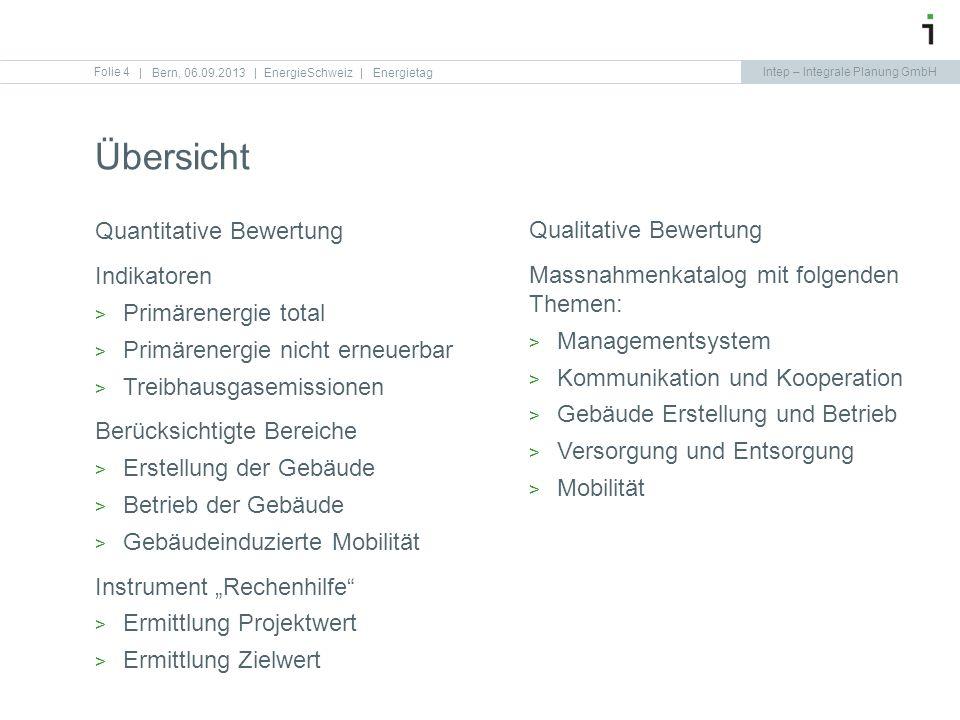 Intep – Integrale Planung GmbH Übersicht Folie 4   Bern, 06.09.2013   EnergieSchweiz   Energietag Quantitative Bewertung Indikatoren Primärenergie tot