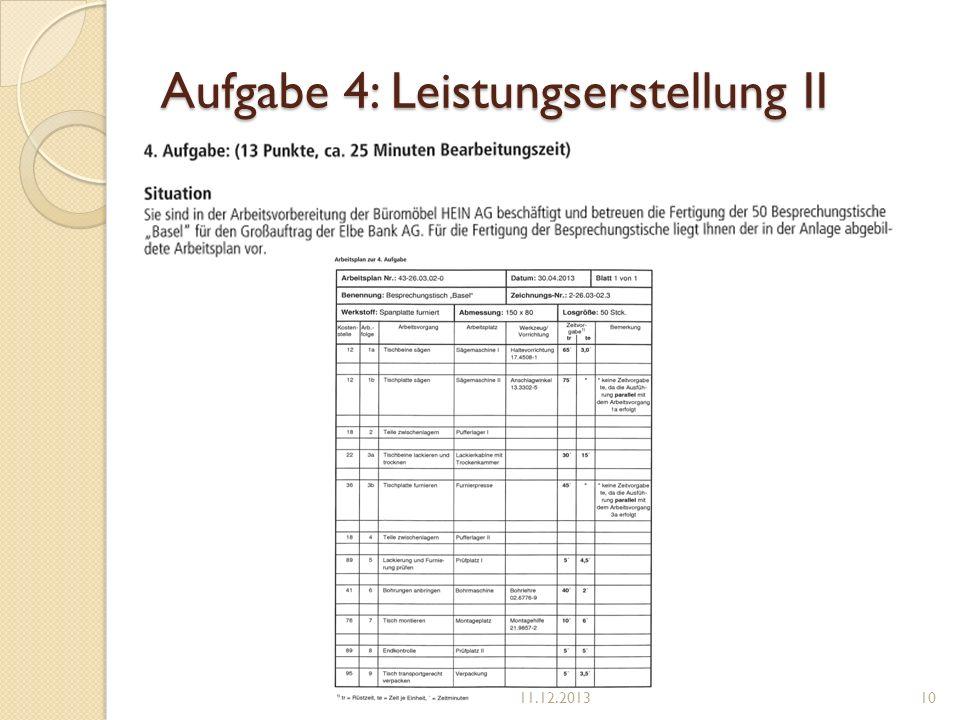 Aufgabe 4: Leistungserstellung II 11.12.201310