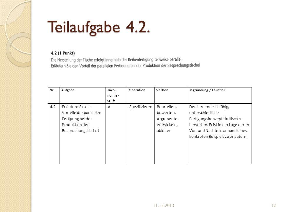 Teilaufgabe 4.2. Nr.Aufgabe Taxo- nomie- Stufe OperationVerbenBegründung / Lernziel 4.2.Erläutern Sie die Vorteile der parallelen Fertigung bei der Pr