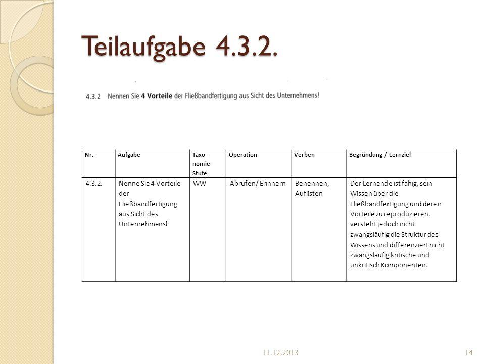 Teilaufgabe 4.3.2. Nr.Aufgabe Taxo- nomie- Stufe OperationVerbenBegründung / Lernziel 4.3.2.Nenne Sie 4 Vorteile der Fließbandfertigung aus Sicht des