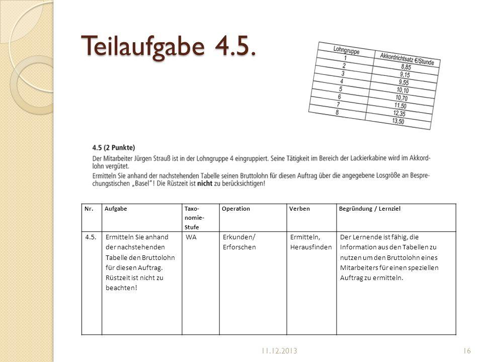 Teilaufgabe 4.5. Nr.Aufgabe Taxo- nomie- Stufe OperationVerbenBegründung / Lernziel 4.5.Ermitteln Sie anhand der nachstehenden Tabelle den Bruttolohn
