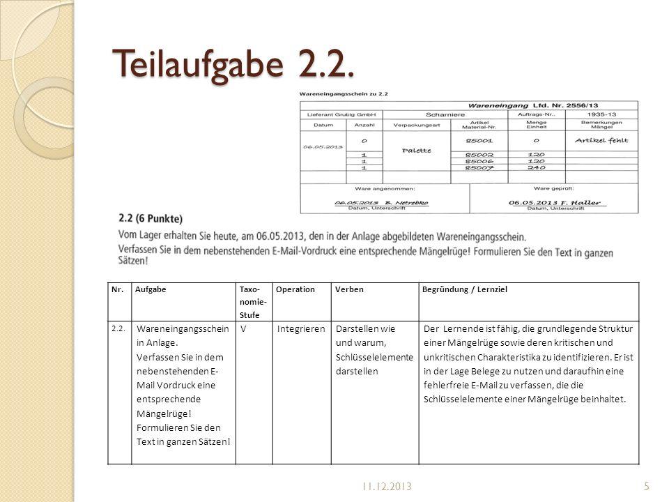 Teilaufgabe 2.2. Nr.Aufgabe Taxo- nomie- Stufe OperationVerben Begründung / Lernziel 2.2. Wareneingangsschein in Anlage. Verfassen Sie in dem nebenste