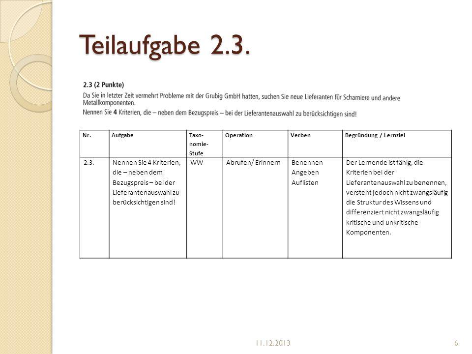 Teilaufgabe 2.3. Nr.Aufgabe Taxo- nomie- Stufe OperationVerben Begründung / Lernziel 2.3.Nennen Sie 4 Kriterien, die – neben dem Bezugspreis – bei der
