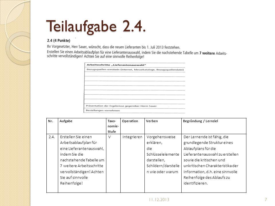Teilaufgabe 2.4. Nr.Aufgabe Taxo- nomie- Stufe OperationVerben Begründung / Lernziel 2.4.Erstellen Sie einen Arbeitsablaufplan für eine Lieferantenaus