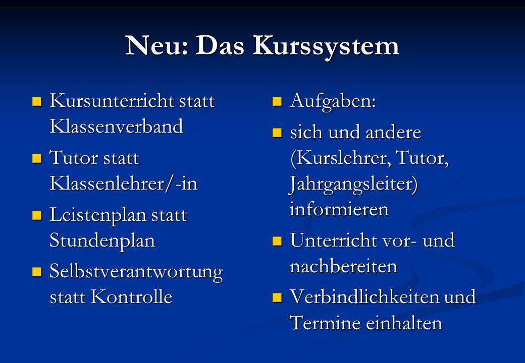 Neu: Das Kurssystem Kursunterricht statt Klassenverband Kursunterricht statt Klassenverband Tutor statt Klassenlehrer/-in Tutor statt Klassenlehrer/-i