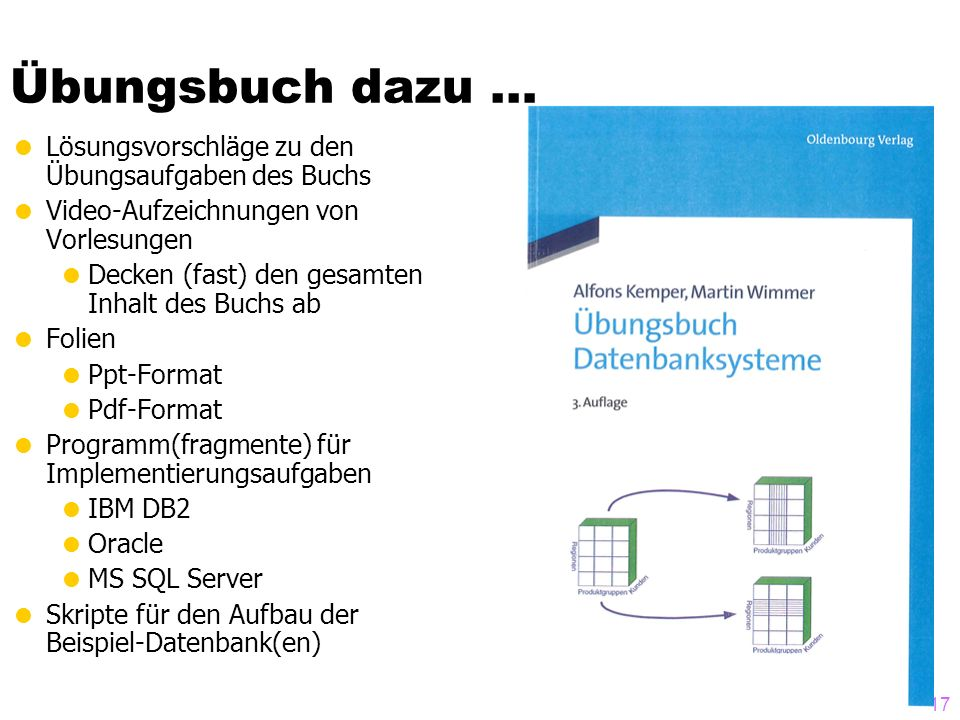 17 Übungsbuch dazu … Lösungsvorschläge zu den Übungsaufgaben des Buchs Video-Aufzeichnungen von Vorlesungen Decken (fast) den gesamten Inhalt des Buch