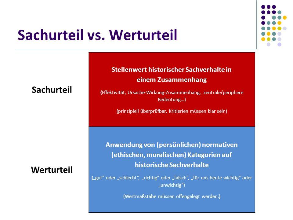 Sachurteil vs. Werturteil Sachurteil Stellenwert historischer Sachverhalte in einem Zusammenhang (Effektivität, Ursache-Wirkung-Zusammenhang, zentrale