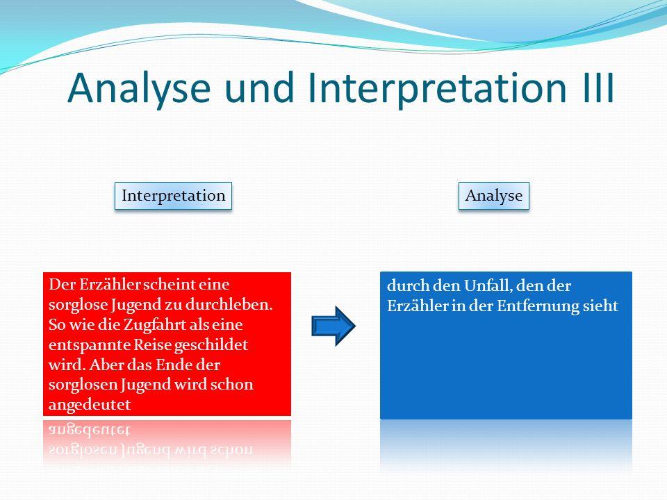 Analyse und Interpretation III Interpretation Analyse