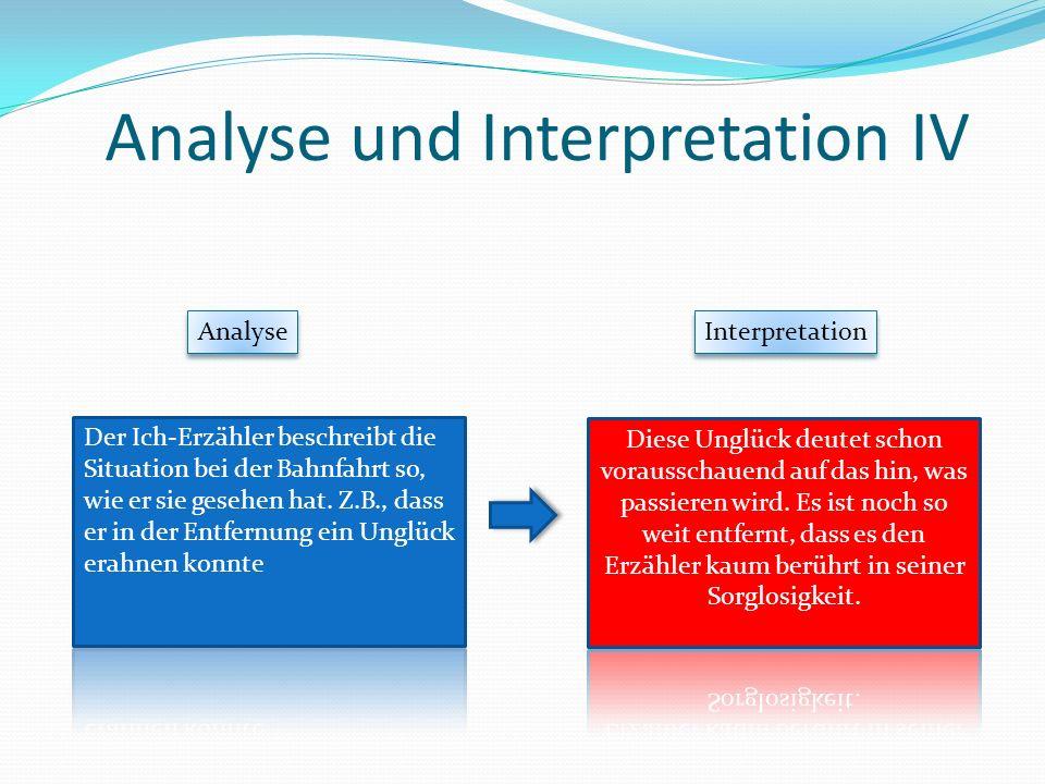 Analyse und Interpretation IV Analyse Interpretation