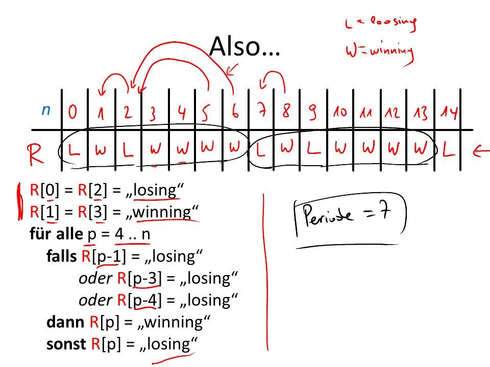 Also… n R[0] = R[2] = losing R[1] = R[3] = winning für alle p = 4.. n falls R[p-1] = losing oder R[p-3] = losing oder R[p-4] = losing dann R[p] = winn