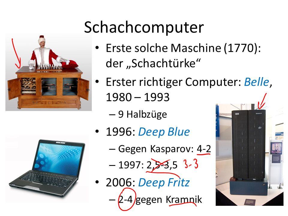 Schachcomputer Erste solche Maschine (1770): der Schachtürke Erster richtiger Computer: Belle, 1980 – 1993 – 9 Halbzüge 1996: Deep Blue – Gegen Kaspar
