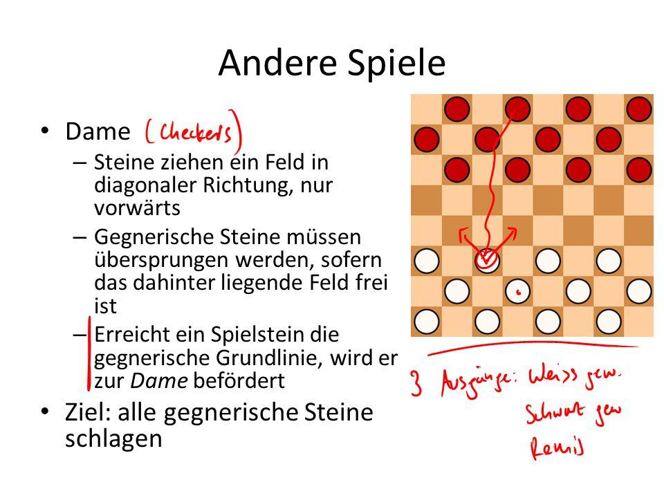 Andere Spiele Dame – Steine ziehen ein Feld in diagonaler Richtung, nur vorwärts – Gegnerische Steine müssen übersprungen werden, sofern das dahinter