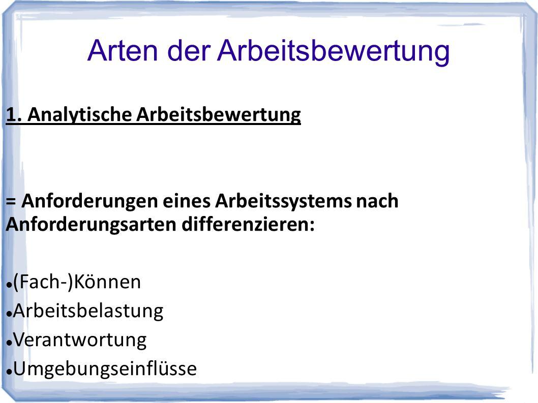 Arten der Arbeitsbewertung 1.