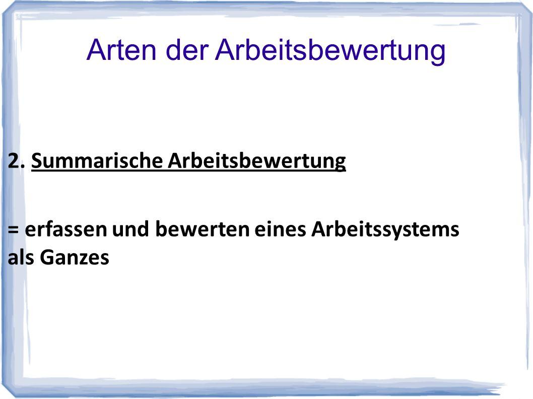 Arten der Arbeitsbewertung 2.