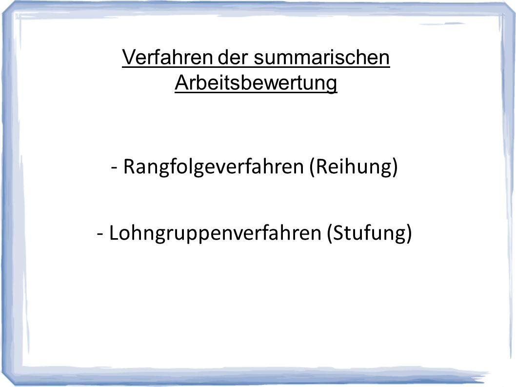 Verfahren der summarischen Arbeitsbewertung - Rangfolgeverfahren (Reihung) - Lohngruppenverfahren (Stufung)