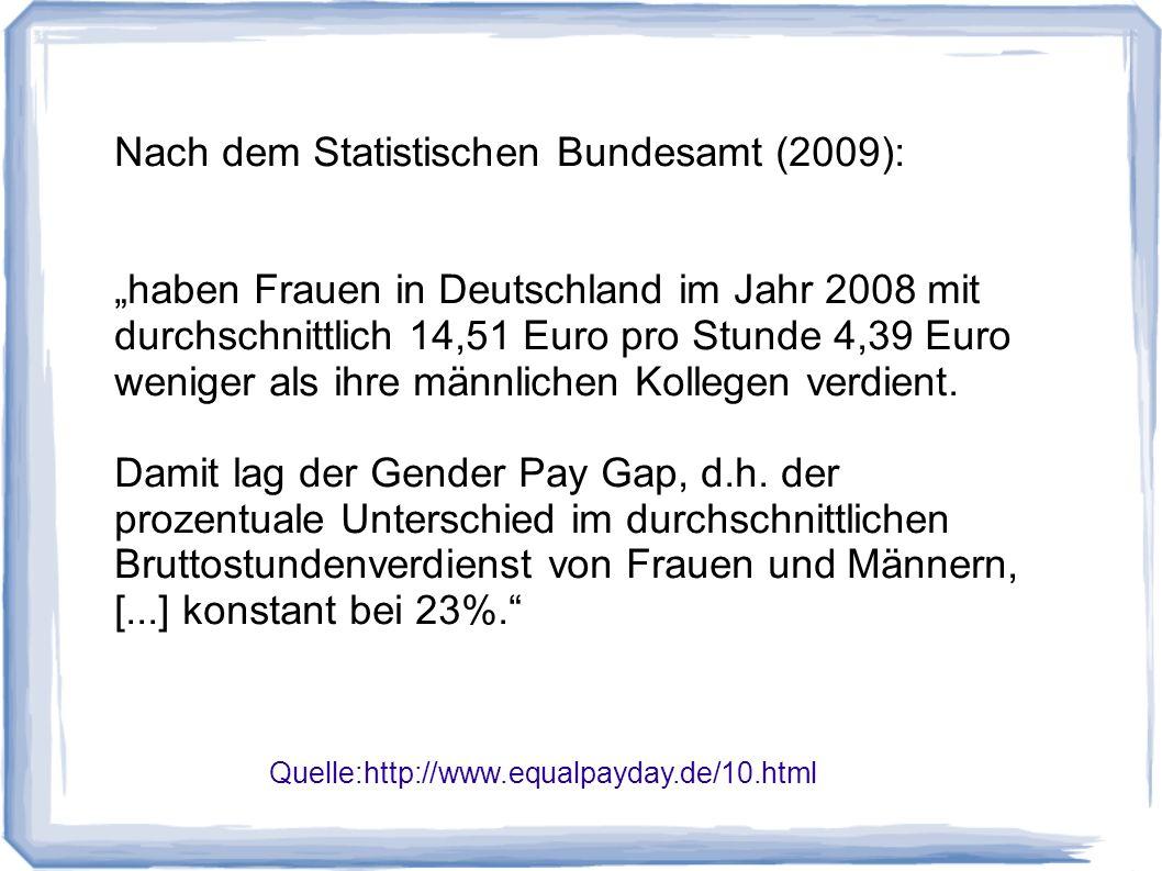 Quelle:http://www.equalpayday.de/10.html Nach dem Statistischen Bundesamt (2009): haben Frauen in Deutschland im Jahr 2008 mit durchschnittlich 14,51 Euro pro Stunde 4,39 Euro weniger als ihre männlichen Kollegen verdient.