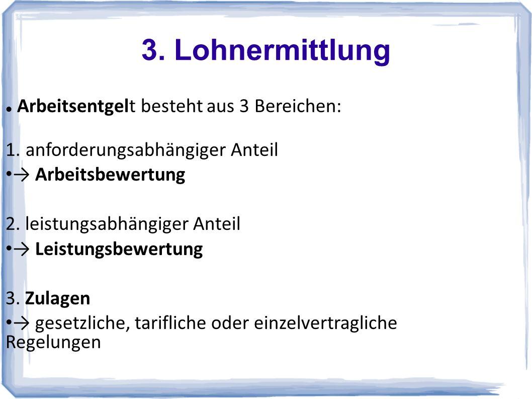 3.Lohnermittlung Arbeitsentgelt besteht aus 3 Bereichen: 1.