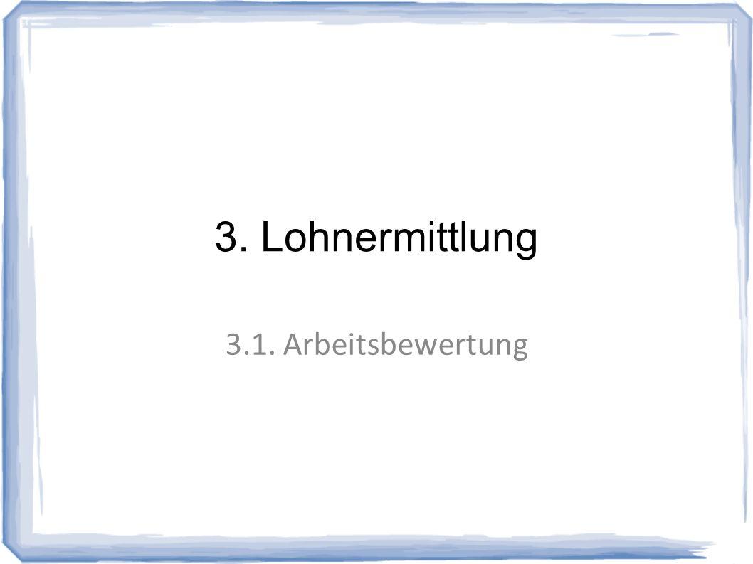 3. Lohnermittlung 3.1. Arbeitsbewertung