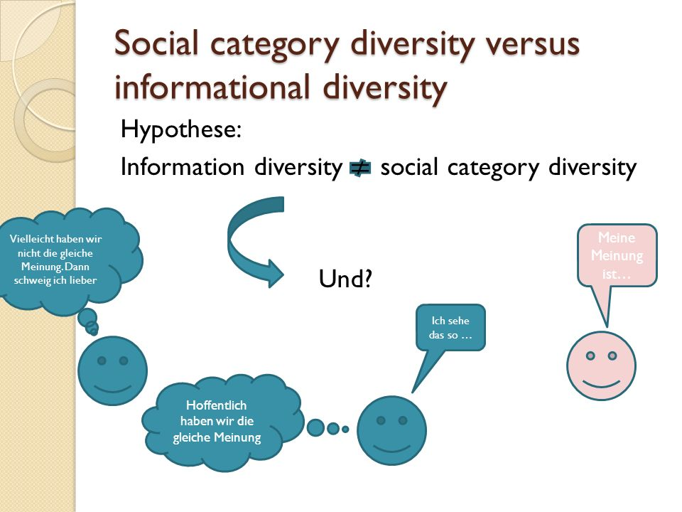 Social category diversity versus informational diversity Hypothese: Information diversity social category diversity Und.