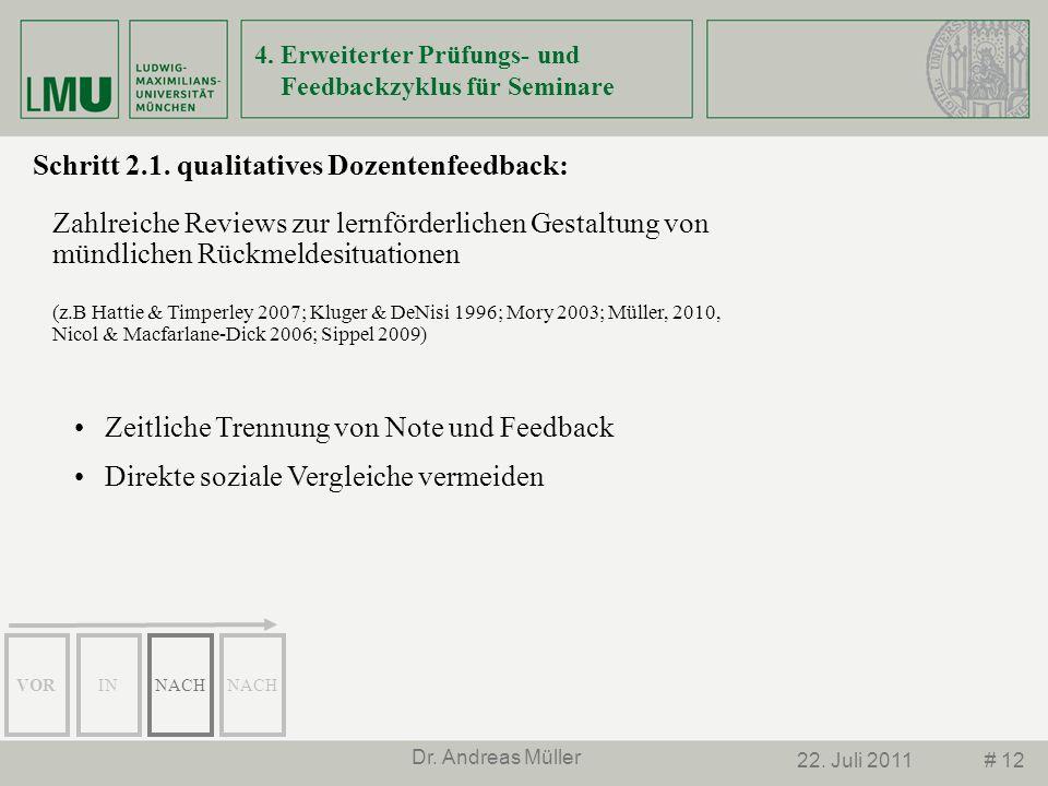 # 1222. Juli 2011 Dr. Andreas Müller Schritt 2.1. qualitatives Dozentenfeedback: Zahlreiche Reviews zur lernförderlichen Gestaltung von mündlichen Rüc