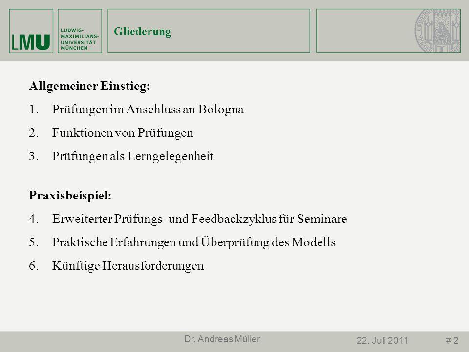 # 222. Juli 2011 Dr. Andreas Müller Allgemeiner Einstieg: 1.Prüfungen im Anschluss an Bologna 2.Funktionen von Prüfungen 3.Prüfungen als Lerngelegenhe