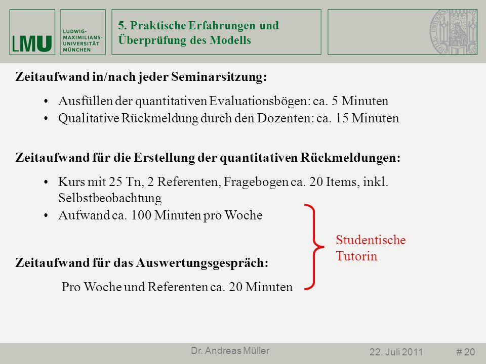 # 2022. Juli 2011 Dr. Andreas Müller 5. Praktische Erfahrungen und Überprüfung des Modells Zeitaufwand in/nach jeder Seminarsitzung: Ausfüllen der qua