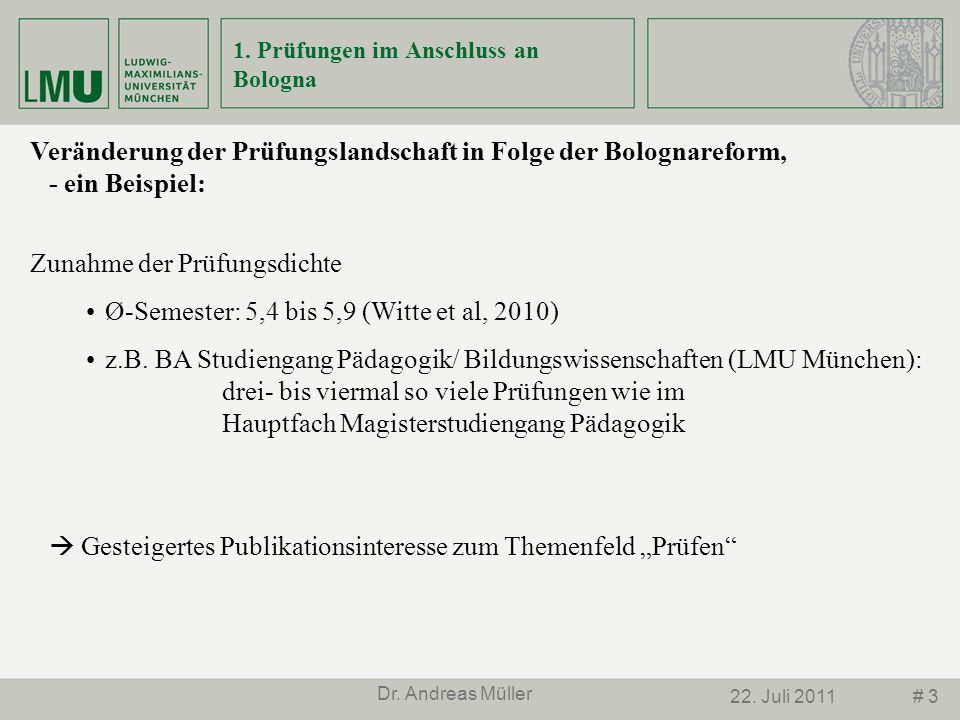 # 322. Juli 2011 Dr. Andreas Müller 1. Prüfungen im Anschluss an Bologna Veränderung der Prüfungslandschaft in Folge der Bolognareform, - ein Beispiel