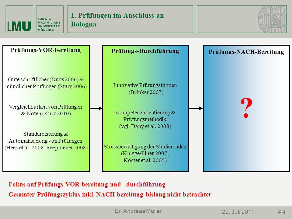 # 422. Juli 2011 Dr. Andreas Müller Prüfungs-VOR-bereitung Güte schriftlicher (Dubs 2006) & mündlicher Prüfungen (Stary 2006) Vergleichbarkeit von Prü
