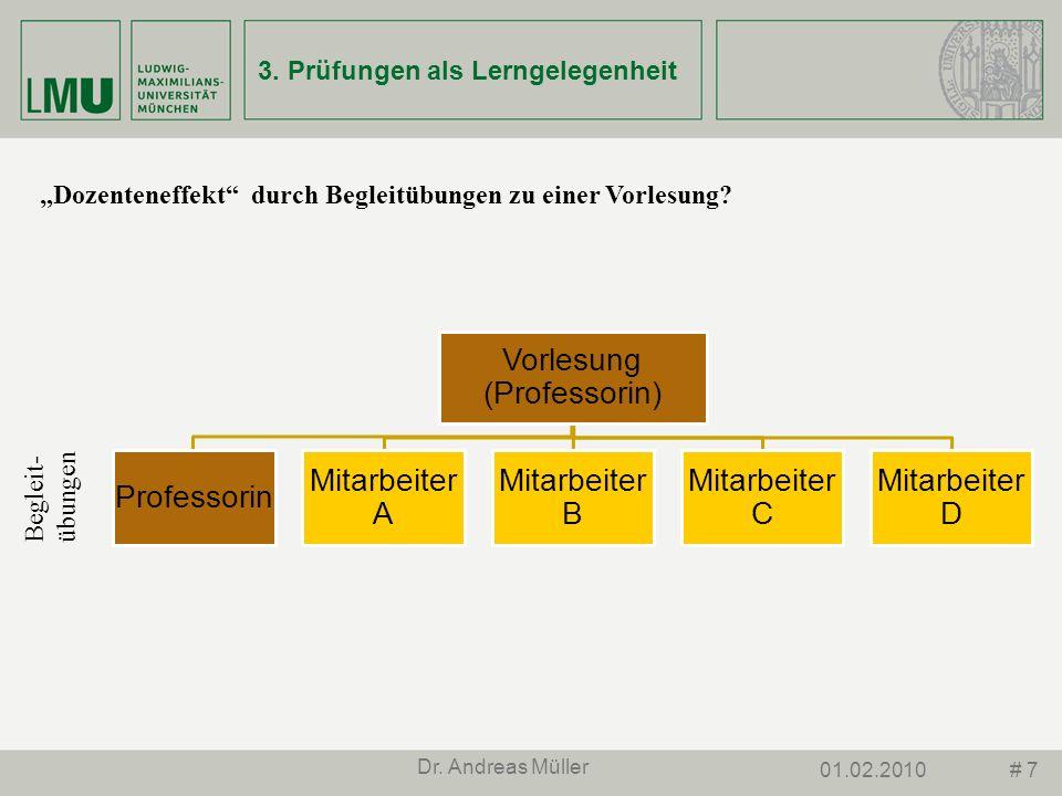 # 701.02.2010 Dr. Andreas Müller 3. Prüfungen als Lerngelegenheit Dozenteneffekt durch Begleitübungen zu einer Vorlesung? Vorlesung (Professorin) Prof