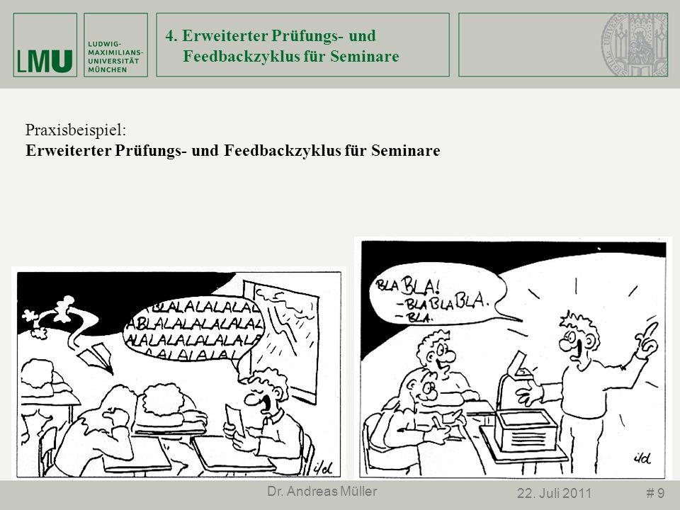 # 922. Juli 2011 Dr. Andreas Müller 4. Erweiterter Prüfungs- und Feedbackzyklus für Seminare Praxisbeispiel: Erweiterter Prüfungs- und Feedbackzyklus