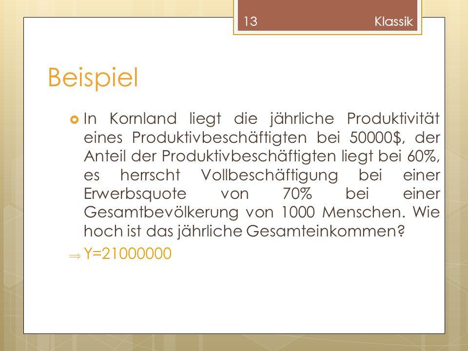 Beispiel In Kornland liegt die jährliche Produktivität eines Produktivbeschäftigten bei 50000$, der Anteil der Produktivbeschäftigten liegt bei 60%, e