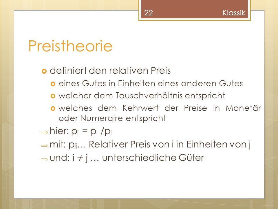 Preistheorie definiert den relativen Preis eines Gutes in Einheiten eines anderen Gutes welcher dem Tauschverhältnis entspricht welches dem Kehrwert d